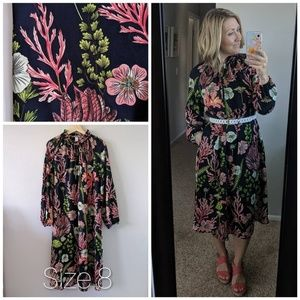 H&M Tropical Floral Navy Midi Shift Dress Size 8